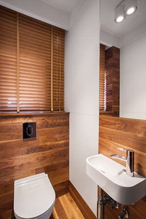 fixture: Photo of wood stylish bathroom with new white fixture