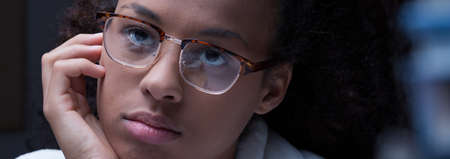 house robe: Panorama of pensive lazy female student in glasses