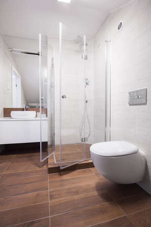 glass panel: Image of new design light bathroom interior with shower