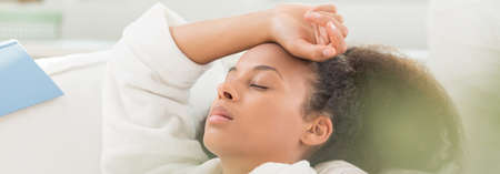 house robes: Image of asleep woman after pull an all-nighter Stock Photo