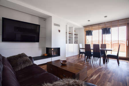 areas: Image of spacious lounge and dining area in contemporary interior Stock Photo