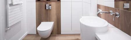 Panoramic view of new design white bathroom interior