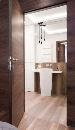 wainscot: Image of entrance to contemporary bathroom in stylish house interior Stock Photo