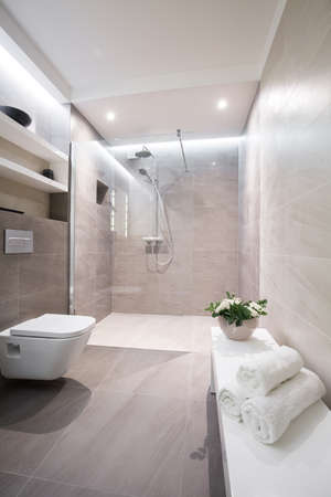 Image of modern luxurious bathroom interior with stylish fitting