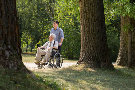 persona en silla de ruedas: Foto del nieto disfrutando de un día soleado con el abuelo en el parque