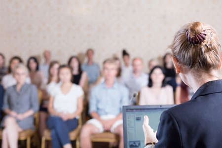 Image of lecturer giving speech during academic conference Stock Photo