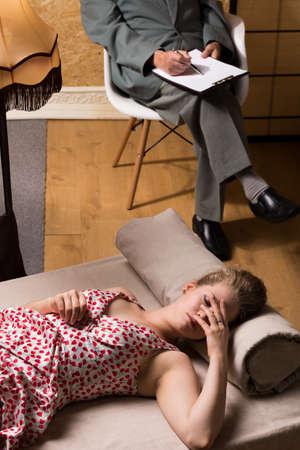 psychoanalysis: Image of nymphomaniac woman on psychoanalysis session Stock Photo