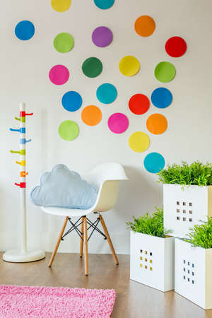 unisex: Paper color spots on wall in unisex childs room