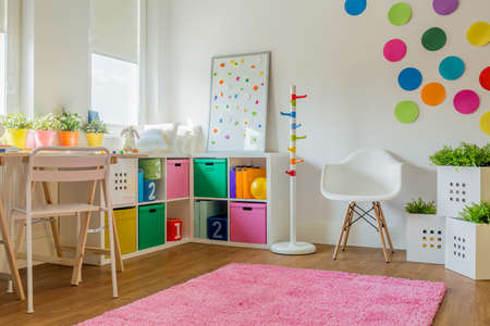 Idea for colorful designed unisex kids room Stock Photo