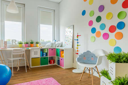 storage boxes: Cozy colorful playing room for child