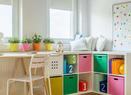 Horizontal view of unisex kids room design