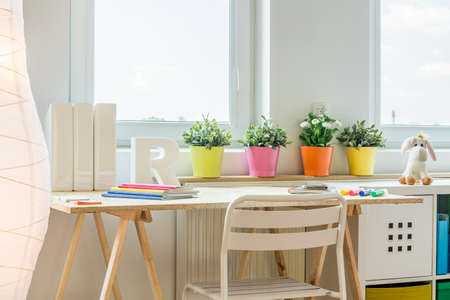 Colorful space for learning in children room