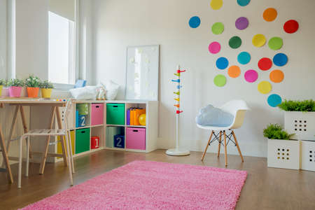 Interior of colorful playing room for toddler