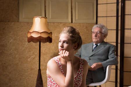 psychoanalysis: Woman sitting back during psychotherapy or psychoanalysis Stock Photo