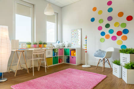 interior room: Multicolor designed playing room for children Stock Photo