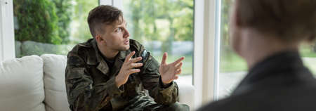 civil disorder: Soldier talking about war to his psychotherapist