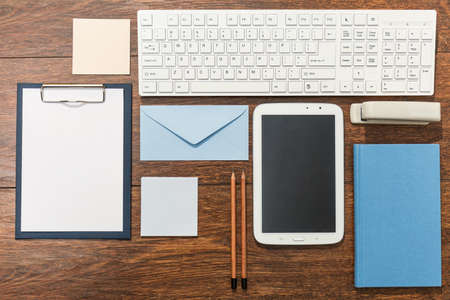 neatness: There is neatness on the wooden office desk Stock Photo