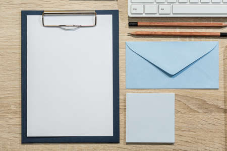 letter writing: Things for writing a letter on the desk Stock Photo