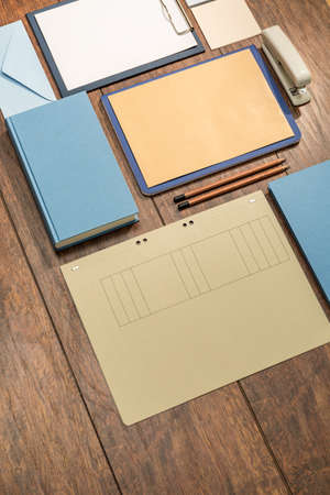 practical: Practical and useful notebooks on the wooden desk