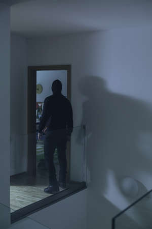 vandal: Image of burglar in house at night Stock Photo