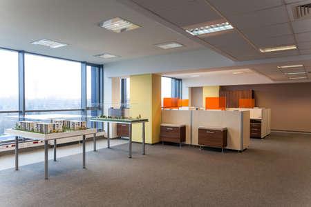empty office: Models of modern buildings in estate agency
