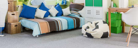 clean carpet: Grey and clean carpet in a boys room Stock Photo