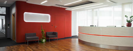 Welcome desk and lobby in the office