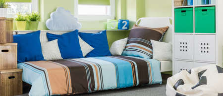 pouf: Colorful and nice room for a boy Stock Photo