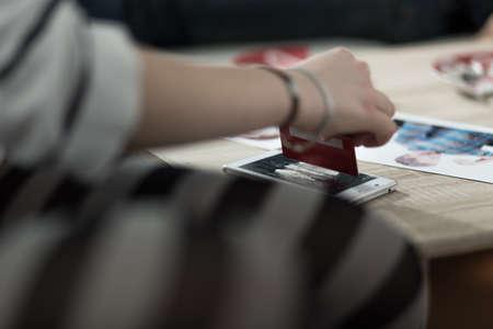 Drug addict taking white powder dopes using credit card