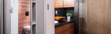 handbasin: Horizontal view of contemporary luxury bathroom interior