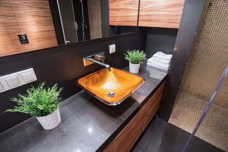 Close-up of modern washbasin in luxury toilet Archivio Fotografico
