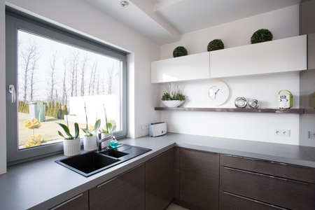 contemporary kitchen: Window look from kitchen in contemporary house
