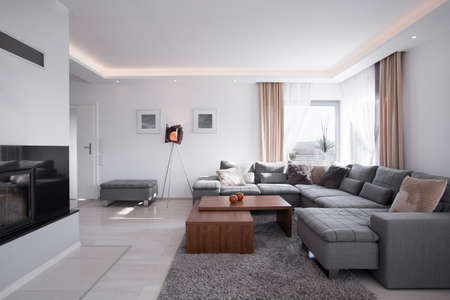 apartment interior: Modern light minimalistic interior in elegant style