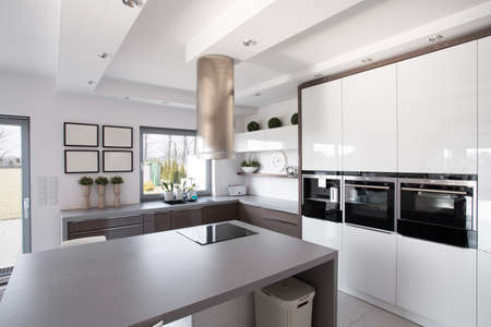 contemporary kitchen: Contemporary minimalistic kitchen in a rich fashionable house