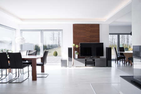 living room minimalist: Sunny expensive house in contemporary desing Stock Photo