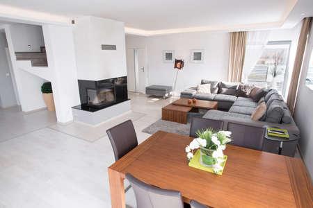 Inside a living room in sunny modern house
