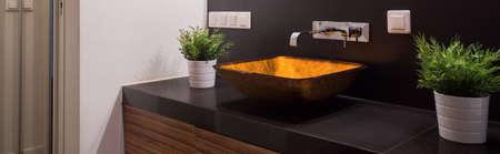 washbowl: Panorama of modern washbowl in luxury toilet