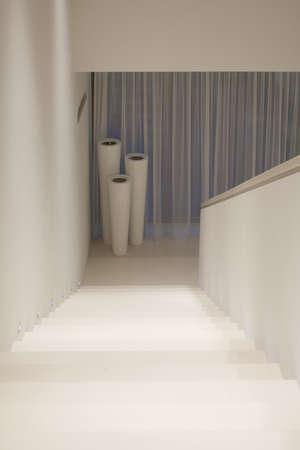 illuminated: White illuminated stairs in modern pure house