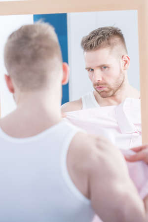 narcissism: Picture of handsome muscular narcissus with kissing face