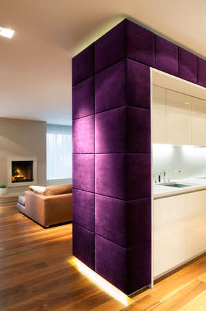 modern living: Modern kitchen and cozy living room interior