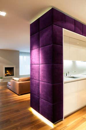 bulkhead: Modern kitchen and cozy living room interior
