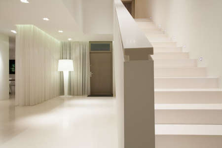 white door: View of white pure detached house interior Stock Photo