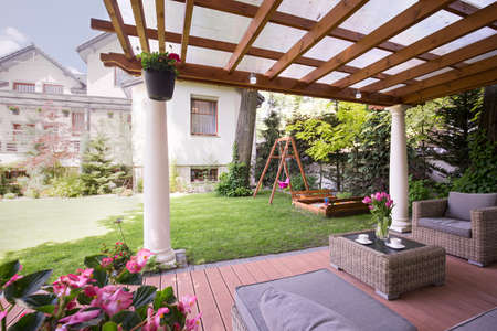roofed house: Image of a romantic place to relax in garden