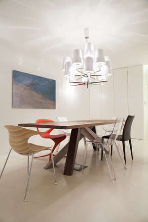 astonishing: Picture of astonishing contemporary dining room interior Stock Photo