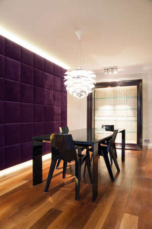 wall decoration: Vertical view of modern dining room design Stock Photo
