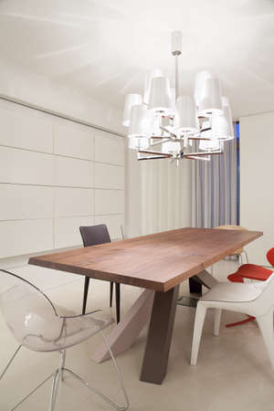 Designed dining table set in contemporary interior