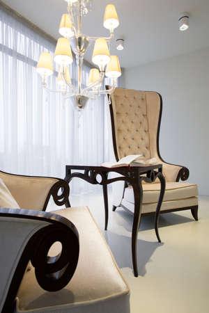 armchairs: Comfortable retro armchairs in luxury elegant interior