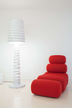 settee: Creative settee and lamp in modern interior