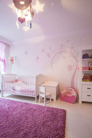 cosy: View of cosy pink and white child room Stock Photo