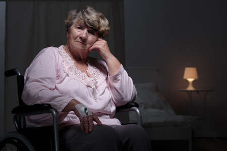 lonely person: Lonely senior woman staying in rest home